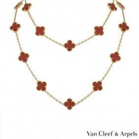 Van Cleef & Arpels Carnelian Vintage Alhambra Necklace VCARD39800
